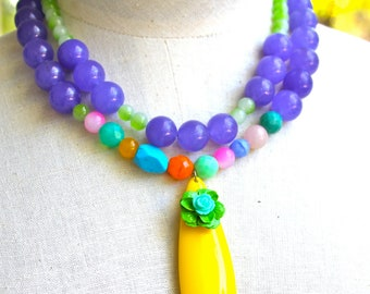 Vintage Yellow and Lime Green Flower Purple Pink Aqua Orange Blue Multi Strand Glass Jade Bead One of a kind Statement Necklace - Wedding