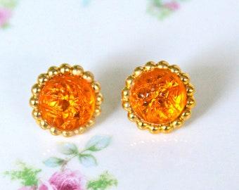 Vintage Orange Round Textured Jewel Brass Gold Bumpy Edge Scalloped Edge Bridal Rhinestone Post Earrings