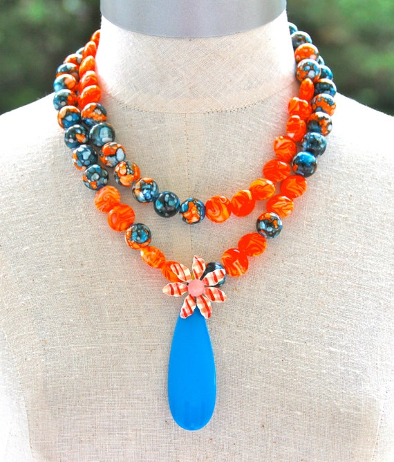 Vintage Cobalt Blue Pendant Enamel Flower Tangerine Glass Beads Orange Blue Black Marbled Beads One of a kind Statement Bridal Necklace