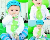 """Baby Boy Cake Smash """"1"""" Personalized Tie Bodysuit & Leg Warmers / Leggings SET. Turquoise  Aqua Teal Green Stripes, 1st Birthday Outfit Fall"""