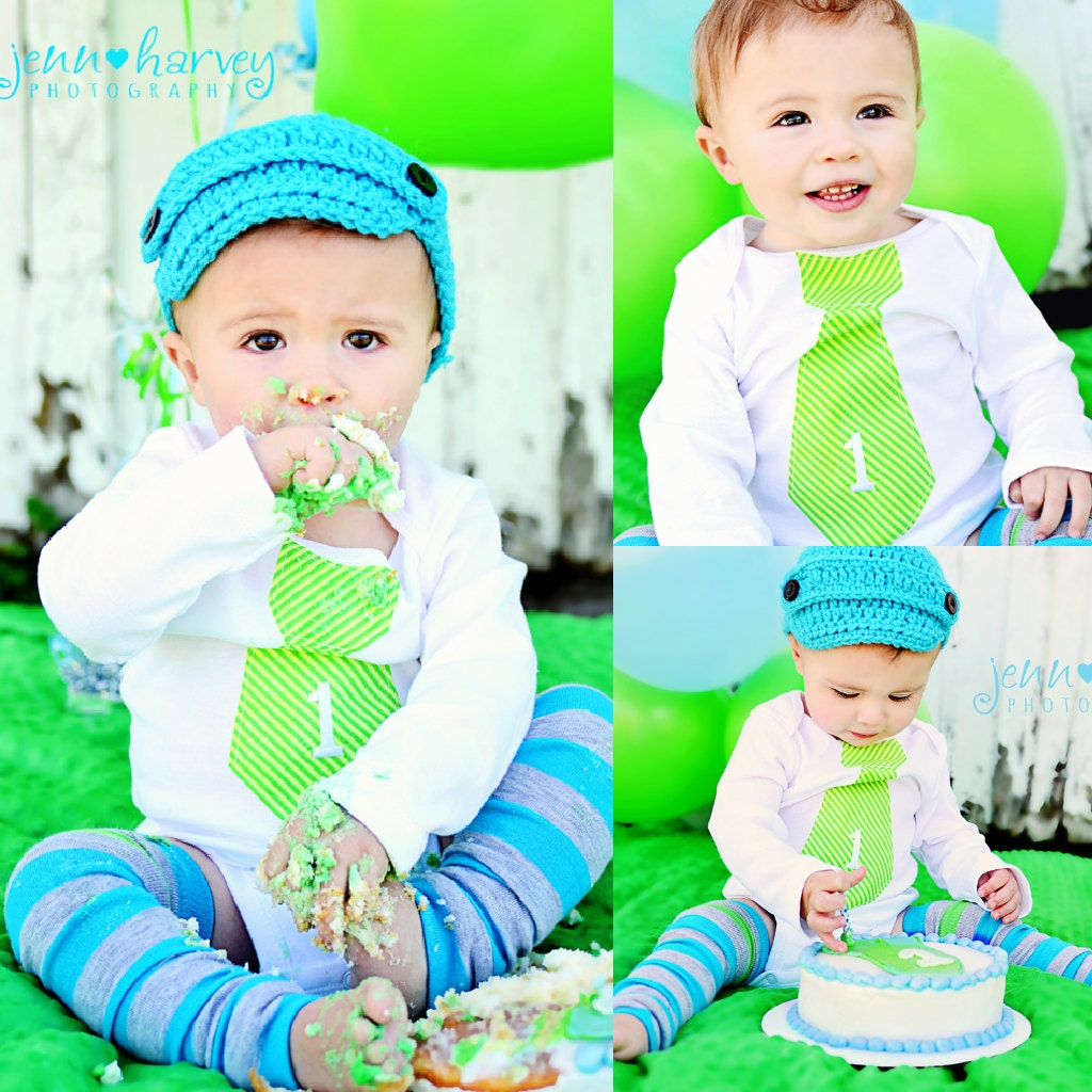 Baby Boy Cake Smash 1 Personalized Tie Bodysuit