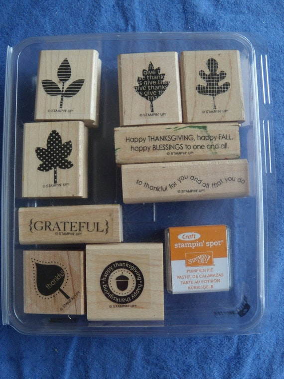 Stampin Up Falling Leaves Wood Stamps and Bounus