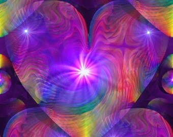 "Chakra Heart Energy Art, Reiki Rainbow Swirl Psychedelic Art ""Rainbow Heart Swirl"""