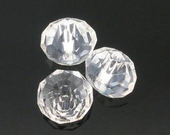 100 pcs Clear Crystal Quartz Faceted Rondelle Beads - 6mm
