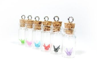 6  Origami Crane Pendants Vial Pendants Miniature Crane in a Bottle Wholesale