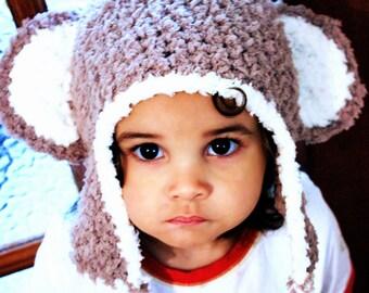 SALE 5T to Teen Monkey Hat Brown Cream Kids Hat Crochet Monkey Earflap Hat Monkey Beanie Monkey Ears Earflap Monkey Prop  Baby Gift