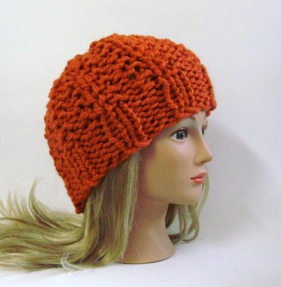 50% off SUMMER SCARF SALE - Pumpkin Orange Chunky Knit Ribbed Hat