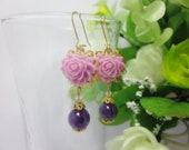 Purple Rose with amethyst bead Earrings