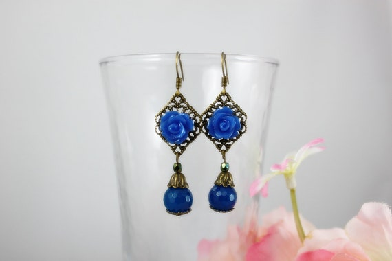Deep Blue Rose Earrings.  Lovely gift for her.