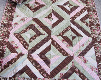 Sale Brown Pink Green Ecru 72 inch by 60 inch machine pieced and quilted quilt with coordinating throw pillow