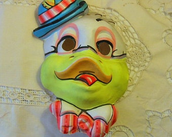 Just Ducky Cartoon DUCK HALLOWEEN MASK Bright Carny Colors, Orange Tongue & Bow Tie, Blue Derby Hat, Vintage 1950s Nostalgia Boho Wall Decor