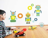Robots Wall Decals and Stickers, Large Size, Nursery Decor, Baby Room, Play room ideas, Gifts for Boys