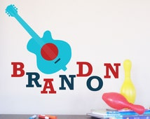Guitar Wall Decal, Rock My Guitar, Nursery Artwork, Newborn Room Art, Play Room Decor for kids
