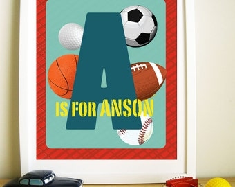 Nursery Art Prints, Personalized Ball Print, Wall Decor for kids, Gift for boys, Sports Artwork, Birthday Gift