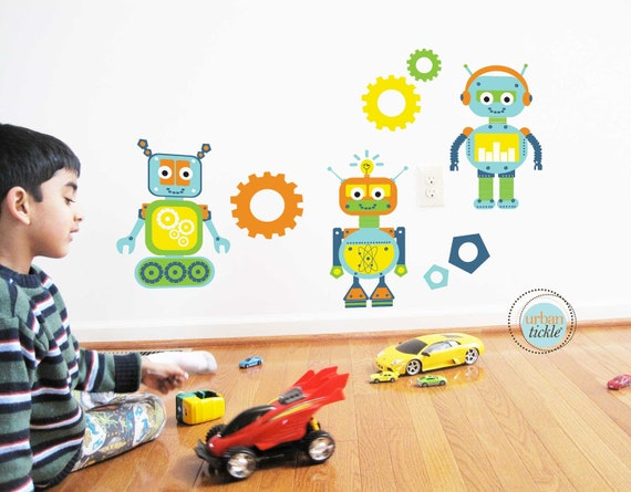 Robots wall decals and stickers large size nursery decor for Robot baby room decor