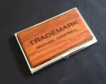 Personalized Wood Business Card Case ID/Card Holder.  Graduation Gift, Father's Day Gift, Men's Gift, Corporate Gift, Custom Logo Design