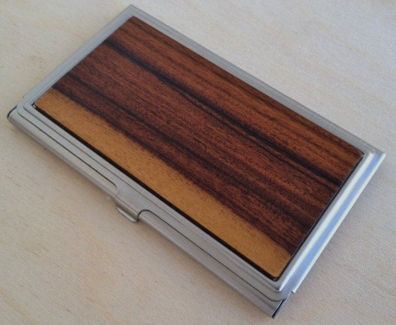 Wood Business Card Case / ID Holder - Inlaid Wood is Santos Rosewood  (BRAZILIAN ROSEWOOD - Multicolor Inlay).-  Free Engraving