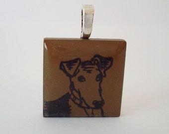 Smooth Fox Terrier Dog Necklace Rubber Stamped Porcelain Tile Pendant