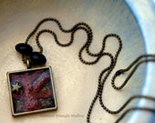 Square bezel tree pendant necklace in polymer clay and resin