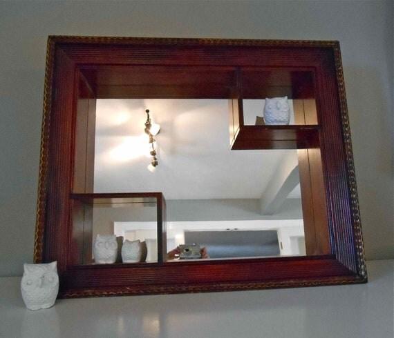 Mid Century Mirror Shadow Box Shelf