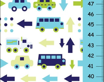 Transportation Canvas Growth Chart -Car, bus and truck- blue and green