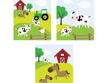 Set of 3 Farm Animal Wall Art Prints 8x10
