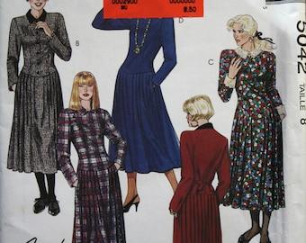 McCalls 5042 Easy Misses' Long Sleeve Formal Dresses Vintage Sewing Pattern