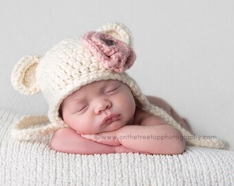 Organic Baby Girl Hat, 0 to 3 Months Baby Girl Organic Hat, Baby Teddy Bear Hat, Cream with Strawberry Pink Flower. Very Soft. Photo Props.