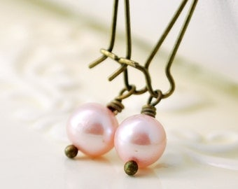 Pink Pearl Earrings, Antiqued Brass, Kidney Earwires, Genuine Freshwater, Woodland Wedding, Simple, Wire Wrapped Jewelry, Free Shipping