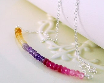 Gemstone Row Necklace, Sterling Silver Chain, Genuine Citrine Amethyst Pink Sapphire Jewelry, Watercolor, Free Shipping