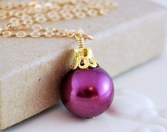 Plum Necklace, Glass Pearl, Fun Holiday Jewelry, Christmas Ball Ornament, Wire Wrapped Pendant, Gold Filled, Free Shipping