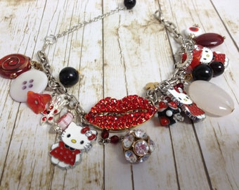 Red Rhinestone Lips Kitty Cat Upcycled/Recycled Charm Bracelet