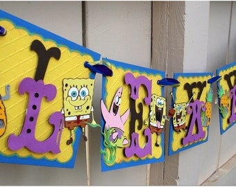 Handmade Banner - Custom made - GO GREEN - Name Banner Happy Birthday Baby Shower Bridal Shower SpongeBob