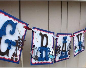 Handmade Banner - Custom made - GO GREEN - Name Banner Happy Birthday Baby Shower Nautical Theme