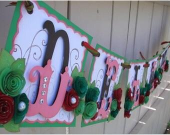 Handmade Banner - Custom made - GO GREEN - Name Banner Happy Birthday Baby Shower Bridal Shower Flowers