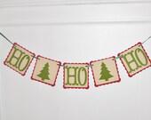HO HO HO Christmas Banner - Paper Christmas Garland - Christmas Decoration - Holiday Decoration - Mantel Decor - Christmas Party Decoration