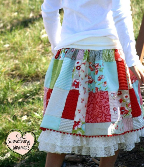 Ready to ship size 6/7/8 patchwork skirt