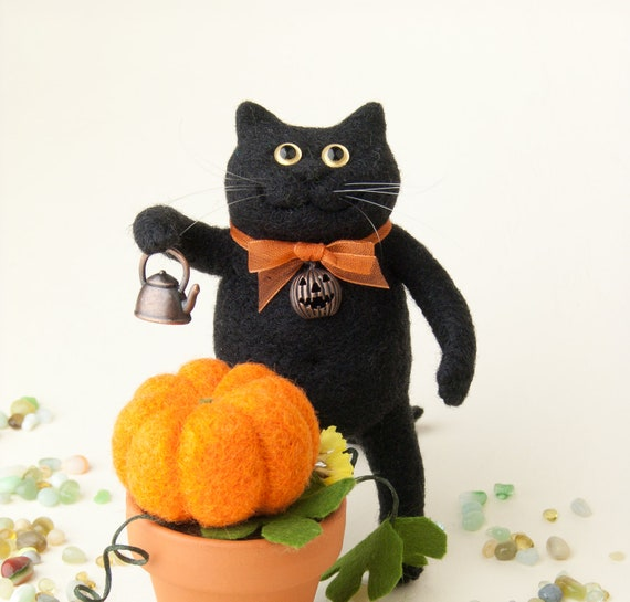 Halloween Black Cat With a Pumpkin