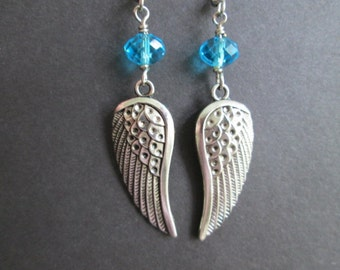 Angel wings sky blue crystal earrings