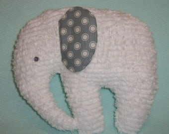 Chenille Elephant, Stuffed White with Grey ears
