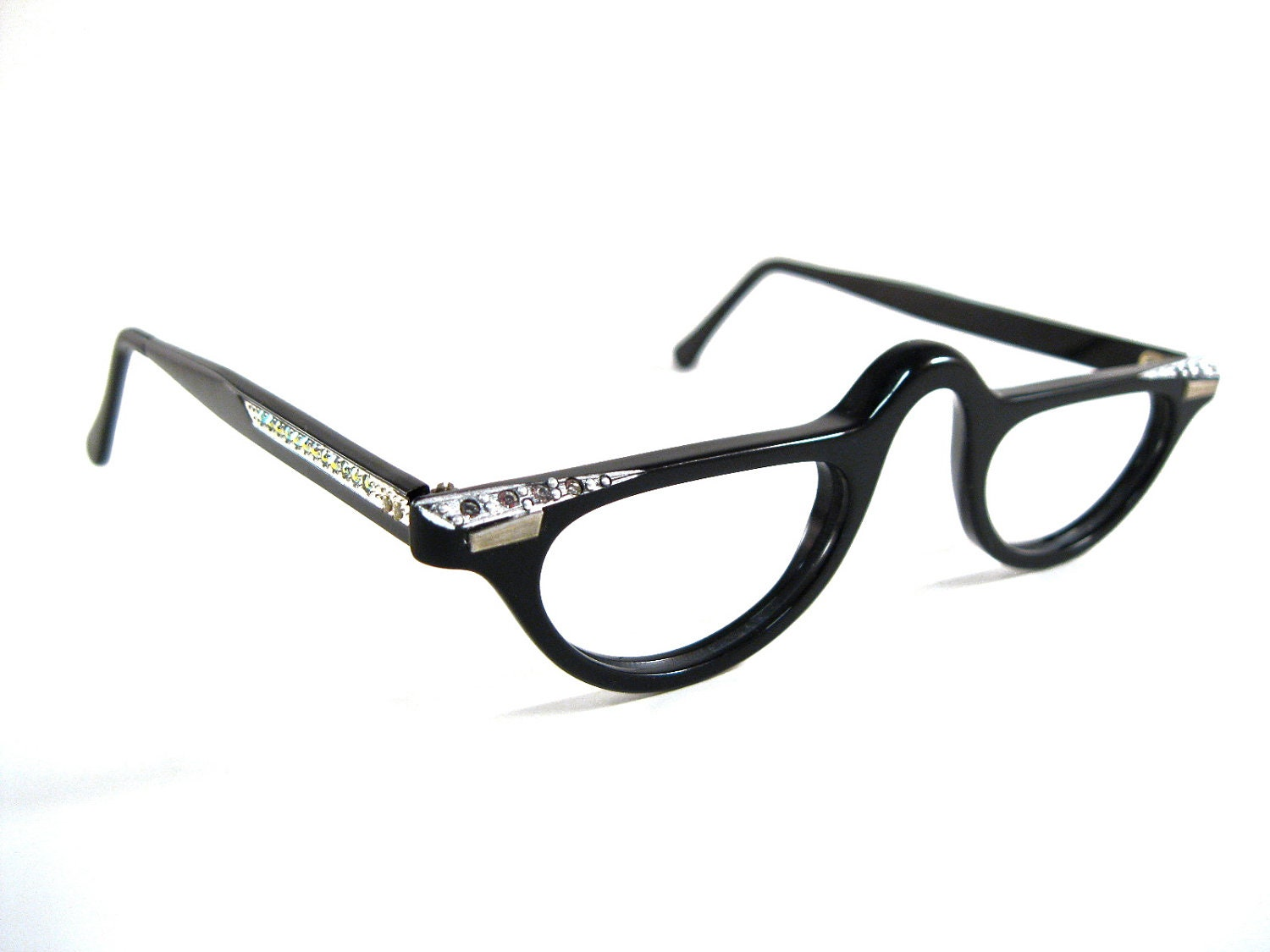 sale black half moon eyeglasses with rhinestones half