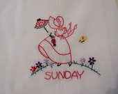 Vintage 40s 50s SunBonnet Sue Tea Towels. Set of 7 Days of the Week. Embroidery on Egyptian Cotton.
