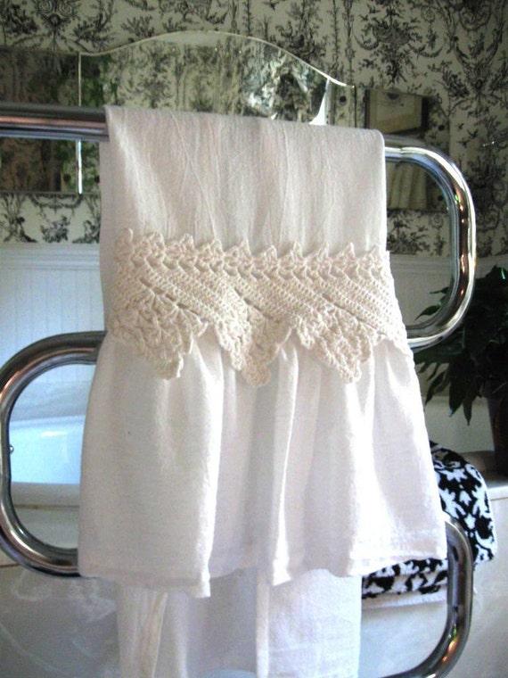 Ruffle Flour Sack Towel with Repurposed Vintage Crochet Trim -Shabby Chic