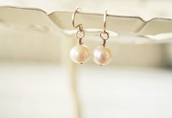 Dainty Pink Freshwater Dangle Earrings - Simple wedding and everyday Jewelry