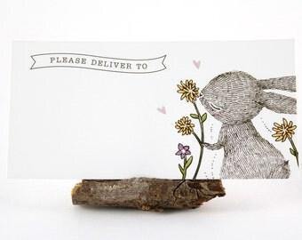 10 Mailing Labels - Rabbit & Spring Flower