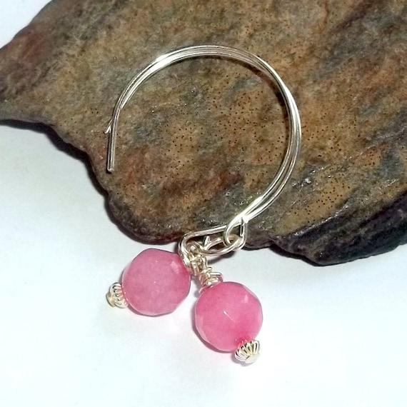Pink Ruby Gemstone Sterling Silver Energy Earrings Dangle Drop Round Energy July Birthstone earthegy