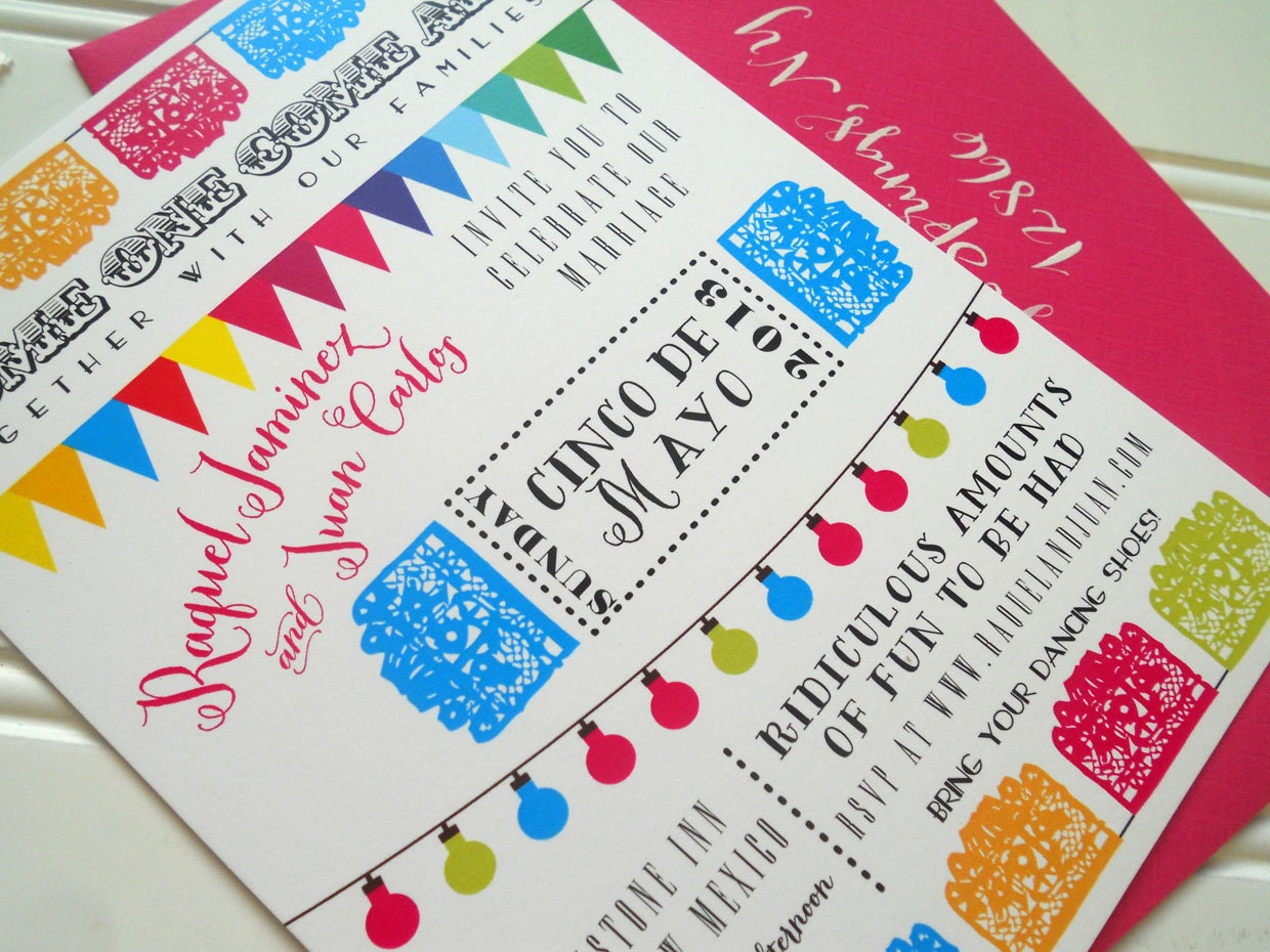 Wedding Invitation Mexican Cinco de Mayo by WhoaNelliePress