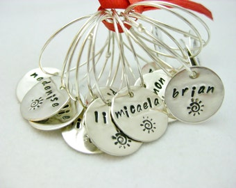 Wedding Jewelry Wine Charms Party Favor Bouquet Charm Bridesmaid Gift Sterling Silver CUSTOM STAMPED With Your Theme