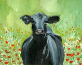 "Cow and Flowers, 8""x10"" oil painting"