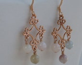 Pretty soft pastel stone earrings with rose gold great for sensitive ears